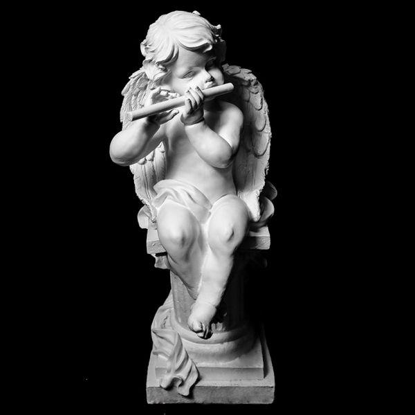 Скульптура из Литьевого мрамора №04 Ангел с дудочкой на тумбе.